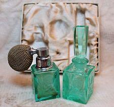 Vintage Highly Polished Handcarved Japan Perfume Parfum Bottle Vanity Set Box