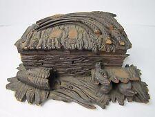 Antique Folk Art Wood Carved Box birds nest black forest hinged top decorative