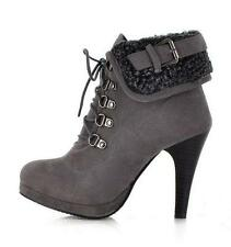 stylish Ladies vintage fur trim ankle boots high heels lace up shoes pumps E934
