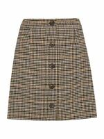 WHISTLES Ladies Houndstooth Button A-line Skirt Brown/Multi UK12 RRP99 BNWT