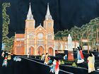 BEAUTIFUL CHINESE VINTAGE SILK HAND EMBROIDERED CHURCH SCENE CHINA