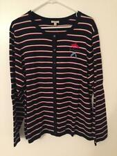 NWT Talbots 2X Classic Navy Blue/White/Red Striped Scoop Neck Cardigan Sweater
