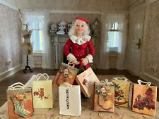 Vintage Miniature Dollhouse 1:12 Artisan Sculpted Mrs. Claus Doll Character Bags