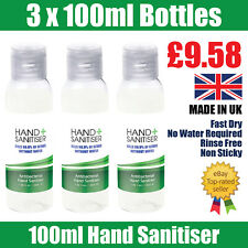 3 PACK Hand Sanitiser 100ml 70% Alcohol Antibacterial Alcohol Kills Bacteria UK