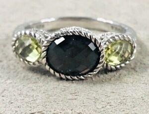Judith Ripka Sterling Citrine & Amethyst? 3 Stone Ring-Size 11