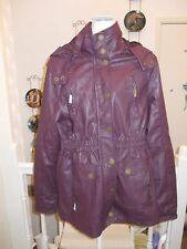 GOLDDIGGA BURGUNDY FAUX LEATHER HOODED COAT ZIP AND POPPER FASTENING SIZE 16