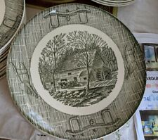 """SCIO POTTERY GREEN ROYAL CHINA CURRIER IVES 9"""" PLATE LOT OF 6!"""