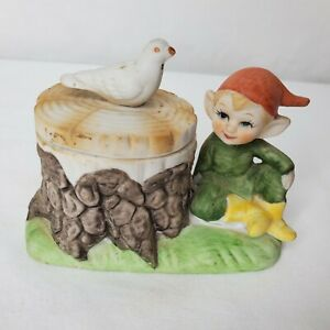 Vintage Elf Trinket Box Figural Pixie Dove Porcelain Hand Painted Gnome Bird