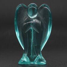 "3"" Ocean Blue Obsidian Crystal Carved Angel Statue Healing Reiki Figurine Crafts"