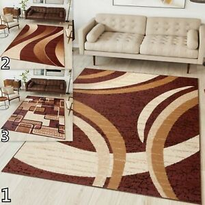 NEW BROWN BEAUTIFUL MODERN RUGS BEDROOM LIVING ROOM TOP DESIGN Different Sizes