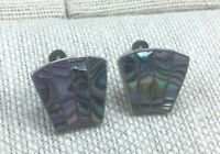 Vintage Sterling Earrings Mexico Silver Abalone Inlaid Screw Back