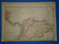 Vintage 1875 CENTRAL AMERICA - VENEZUELA MAP ~ Old Antique Original Atlas Map