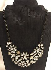 Abercrombie & Fitch A & F Statement Bib Necklace Clear And Frosted Rhinestones