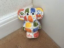 Money Box. Elephant. Ceramic. Multi Coloured. Patchwork Pattern