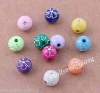 100 pcs mixed color Carved Flower acrylic spacer findings Loose beads charms 8mm