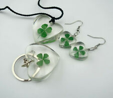 SET Jewelry Real Lucky Clover Shamrock Pendant&Earring&Keychain Heart Design