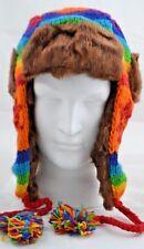 100% Wool Nepal Rainbow Aviator Hat Camping Ski Festival Winter warm Russian Hat