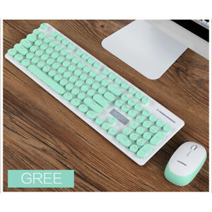 Cute N520 Wireless Punk Mechanical Keyboard Mouse Gaming Set Full-Size
