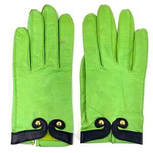Vtg 90s Escada Lime Green Leather Gloves w Black & Gold Stud Cuffs sz S 7