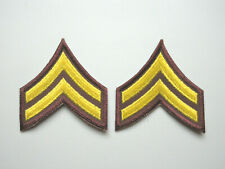 CORPORAL MILITARY SECURITY OFFICER RANK STRIPES PATCHES (BROWN / YELLOW)