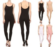 USA MADE COTTON SPANDEX SPAGHETTI STRAP CATSUIT JUMPSUIT ONE PIECE UNITARD S-3X