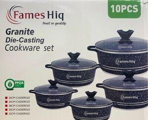 10pc Non Stick Granite DIe-Casting Cookware Set Casserole Pot with Glass Lids