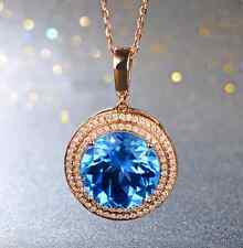 New 8.81ct Natural Swiss Blue Topaz Good Diamond Pendant In 14K Solid Rose Gold