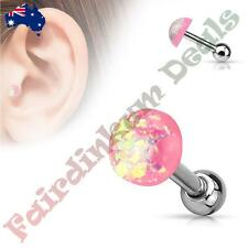 316L Surgical Steel Tragus/Cartilage Stud with Pink Glitter Opal Dome Top