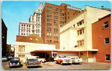Peoria, Illinois Postcard JEFFERSON BANK Parking / Back Alley View 1950s Cars