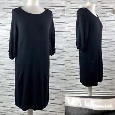 M&S WOMAN Black Shift Jumper Fine Knit Dress Size 12
