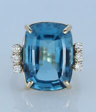 14K Oro Amarillo Londres Azul 18mm Almohadón Diamante de Topacio Anillo Cóctel