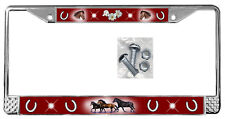 Horses Dark Red Backdrop License Plate Frame Gifts Polished Metal & Screws TXT