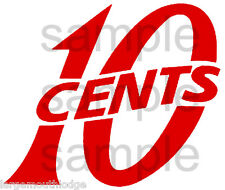 "3"" VINTAGE STYLE 10 c CENT VENDING DECAL RED MACHINE CUT VINYL TRANSFER"