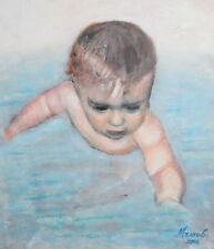 Baby portrait oil painting signed