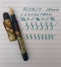 GLOBUS Fountain Pen Celluloid Pearl Marble Ochre GP Flexy Nib Rare Vintage 1940s