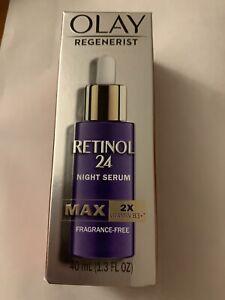 Olay Regenerist Retinol 24 Night Serum MAX 2X Vit B3 Fragrance Free 1.3 oz