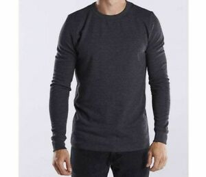 US Blanks Men's Thermal Crewneck- Medium- Heather Charcoal