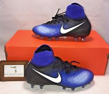 NIKE SIZE 4.5Y JR MAGISTA OBRA II FG BLACK WHITE BLUE SOCCER CLEATS SHOES