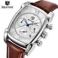 BENYAR 316L 30m Waterproof Leather Mens Pilot Army Quartz Wrist Watch Gift Box