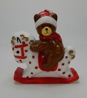 Vintage Christmas Candle Figurine Christmas Bear on Rocking Horse