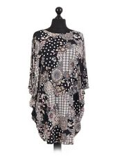 Ladies tunic top blouse plus one size 16-24 black embossed print batwing sleeve