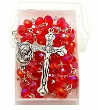 Red Crystal Rosary Beads Necklace Blessed Jerusalem Soil Catholic Cross Gift Box