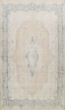 Muted Semi Antique Kirman Evenly Low Pile Area Rug Distressed Hand-knotted 10x13