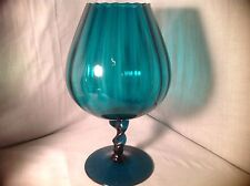 """Mid-Century Empoli Art Glass Optic Panel Teal Glass Compote Sniffer Vase 12""""H"""