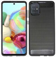 Gel Silikonschutz Tasche Hülle Bumper Schutz Carbon für Samsung Galaxy A71 A715F