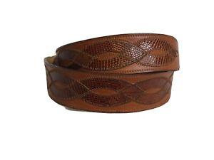 Justin Genuine Lizard Belt Size 36 Brown