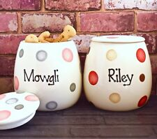 Large Personalised Hand Painted Ceramic Spotty Dog Puppy Pet Treat jar canister