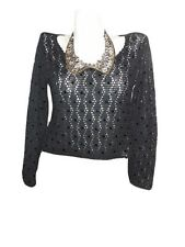 Womens SASCH Italy Florence Black Crochet Knit Beads Sexy Blouse Jumper sz M X99