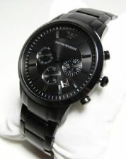 NEW AUTHENTIC EMPORIO ARMANI AR2453 BLACK DIAL ION PLATED 41MM CASE MENS WATCH