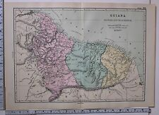 1891 ANTIQUE MAP ~ GUIANA BRITISH DUTCH & FRENCH ~ OYAMPIS GEORGETOWN